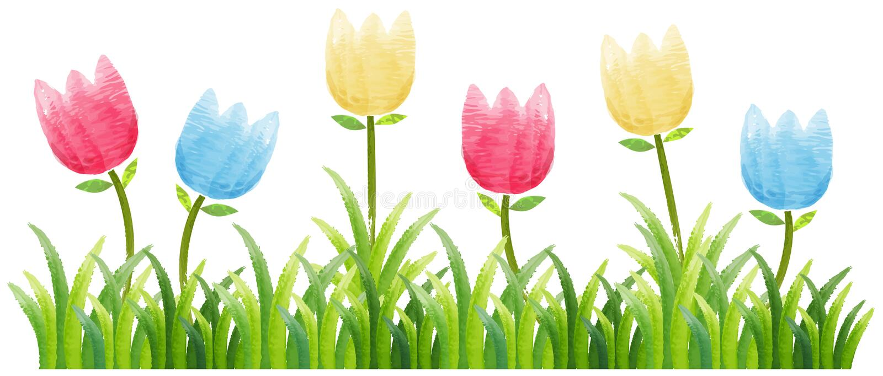 Fondo inconsútil con los tulipanes coloridos en jardín ilustración del vector