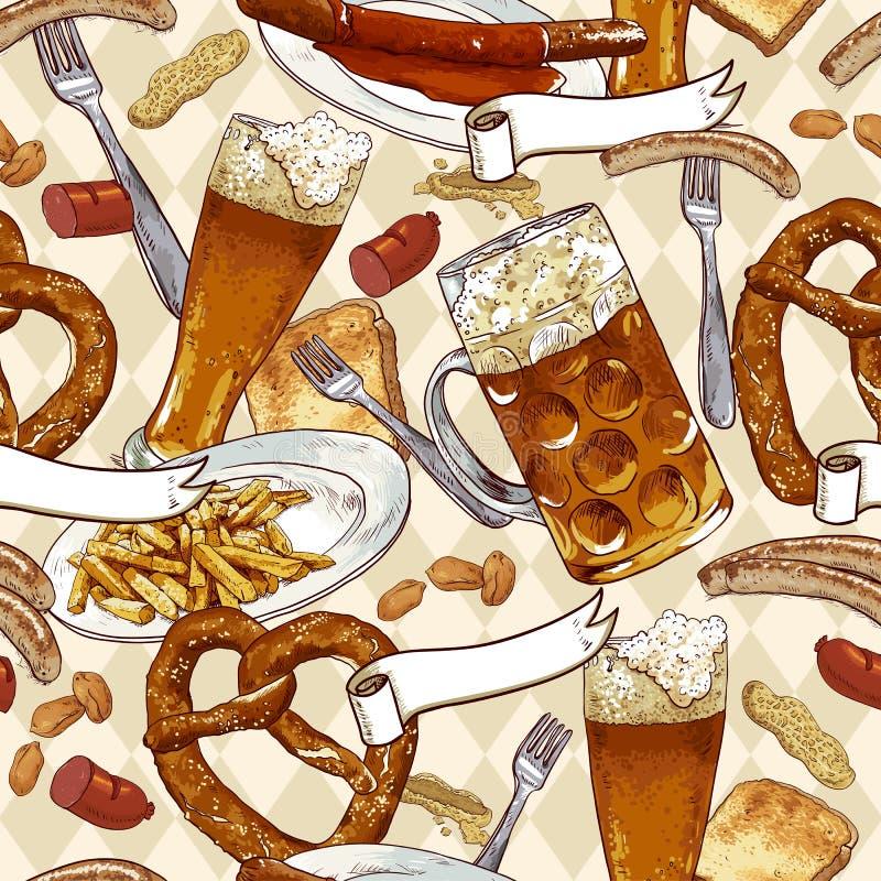 Fondo inconsútil con los vidrios de cerveza, pretzel stock de ilustración