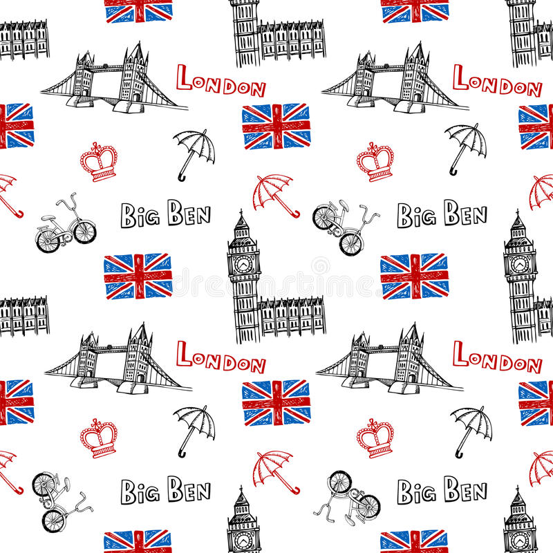 Fondo inconsútil con símbolos de Londres stock de ilustración