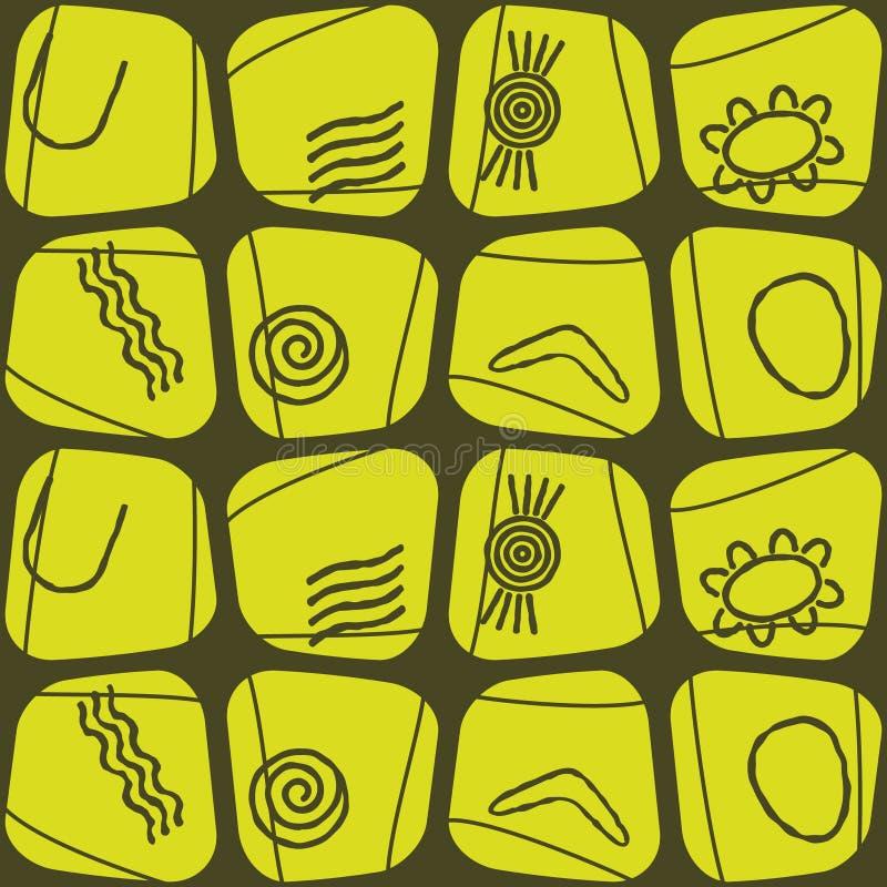 Fondo inconsútil con símbolos del arte aborigen australiano ilustración del vector