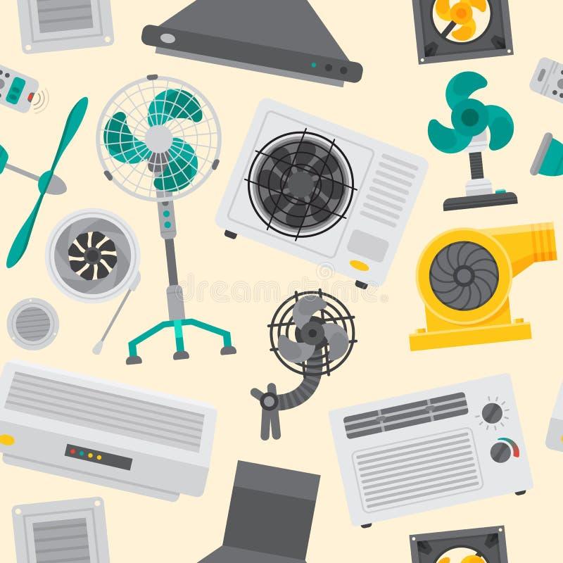 Fondo inconsútil de condicionamiento del modelo del control fresco del clima del ventilador del equipo de sistemas del bolsa de a libre illustration