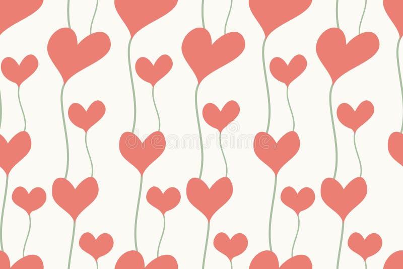 Fondo inconsútil de corazones en color en colores pastel stock de ilustración