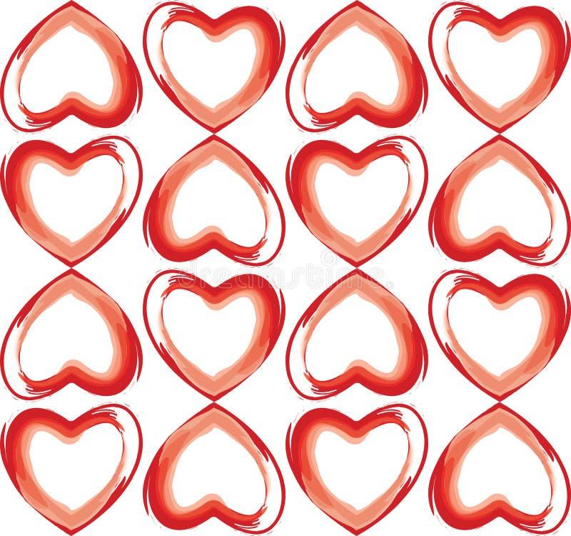 Fondo inconsútil de corazones en color rojo ilustración del vector