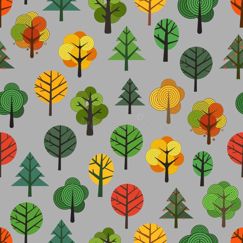 Fondo inconsútil de diversos árboles stock de ilustración