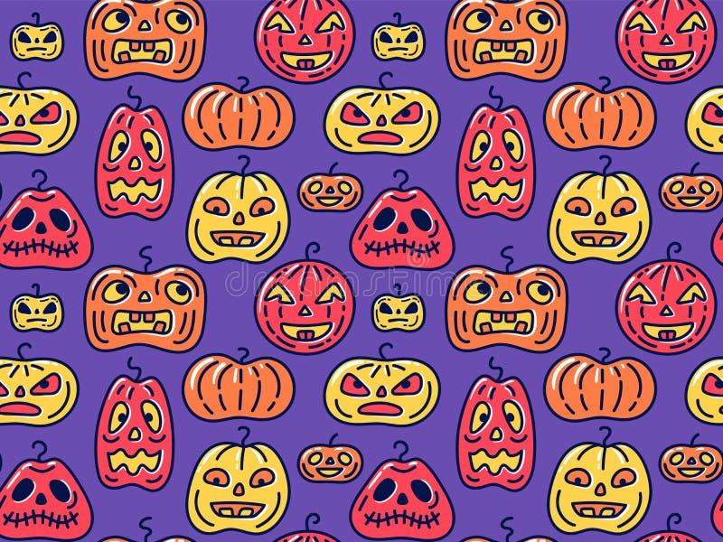 Fondo inconsútil de Halloween con diversas formas de las calabazas stock de ilustración