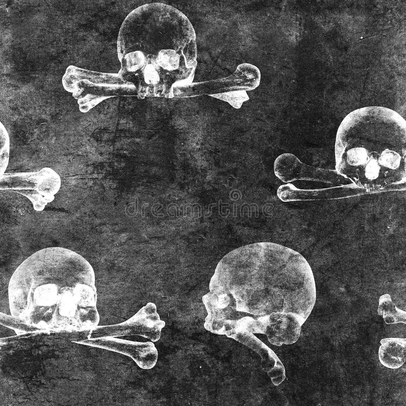Fondo inconsútil de Halloween del grunge con los cráneos humanos imagen de archivo libre de regalías