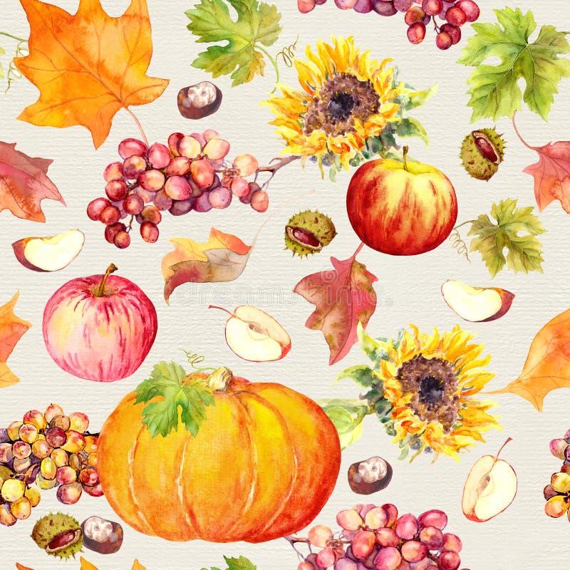 Fondo inconsútil de la acción de gracias Frutas, verduras - calabaza, hojas de otoño watercolor ilustración del vector
