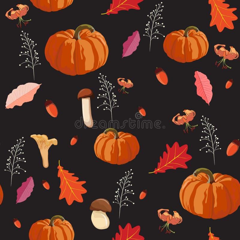 Fondo inconsútil de la acción de gracias - modelo de las hojas y de las verduras Ejemplo del otoño del vector del estilo de la ac libre illustration