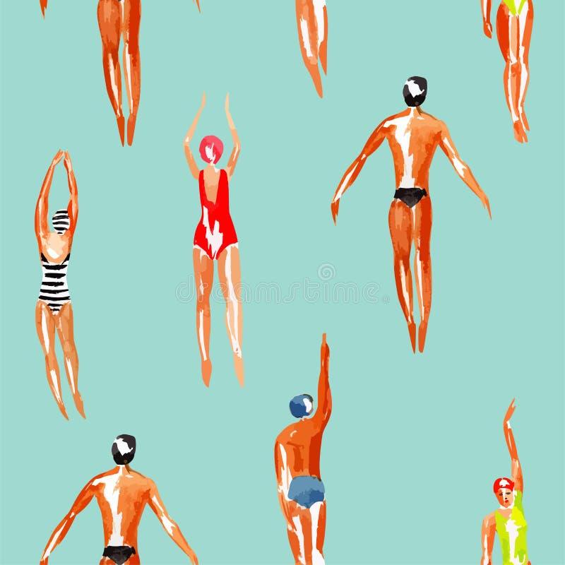 Fondo inconsútil de la acuarela del nadador stock de ilustración