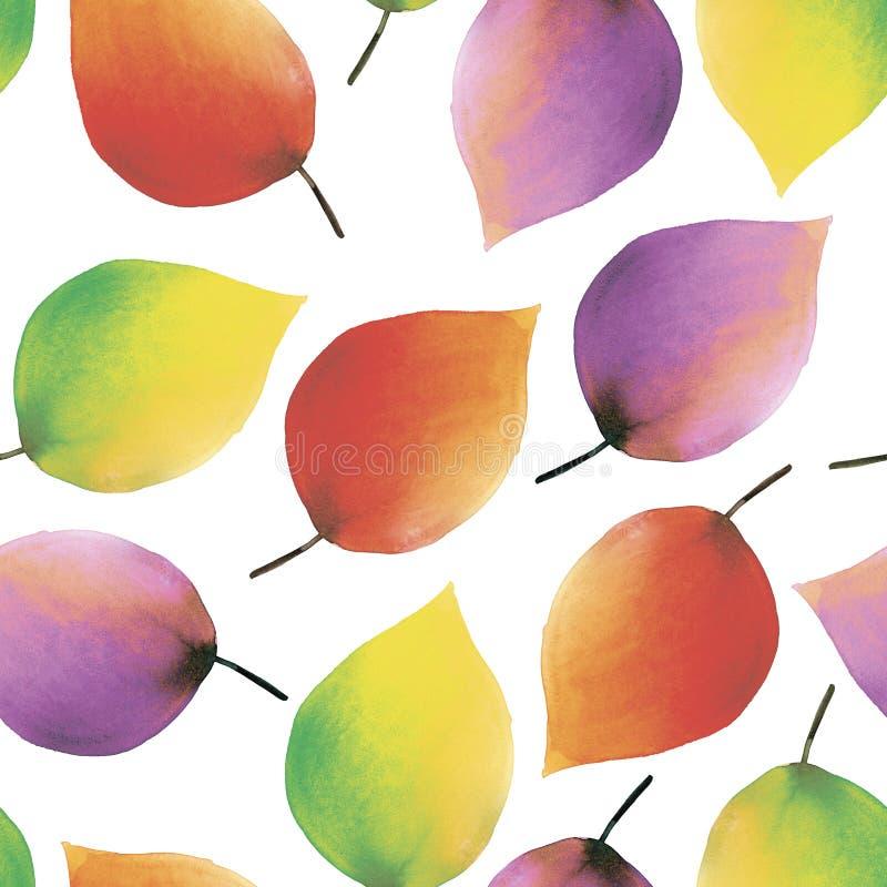 Fondo inconsútil de la acuarela de las hojas del otoño ilustración del vector
