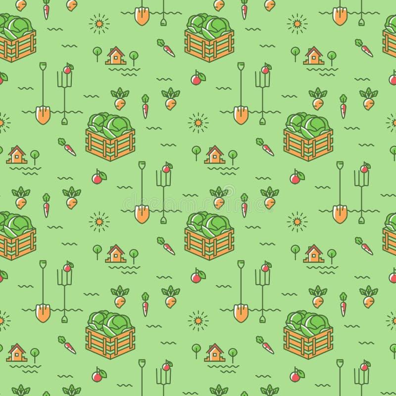 Fondo inconsútil de la agricultura del modelo del jardín de verduras libre illustration