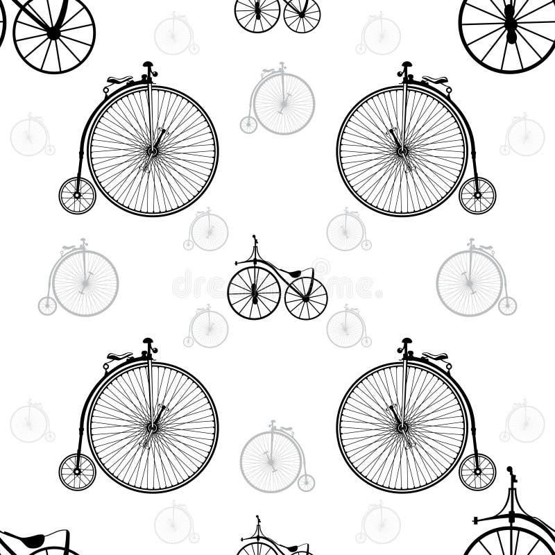 Fondo inconsútil de la bicicleta del vintage stock de ilustración