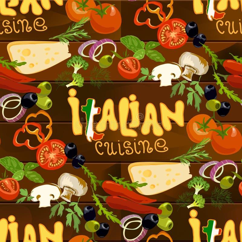 Fondo inconsútil de la comida italiana ilustración del vector