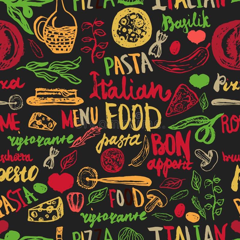 Fondo inconsútil de la comida italiana con los diversos ultramarinos: Pastas, verduras, pizza y setas ilustración del vector