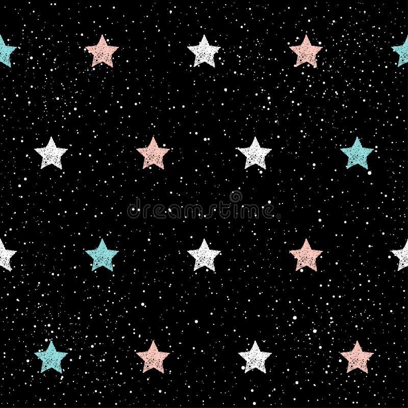 Fondo inconsútil de la estrella del garabato Azul infantil abstracto, blanco a stock de ilustración