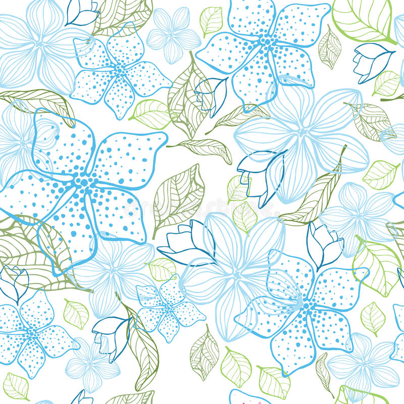 Fondo inconsútil de la flor elegante Sistema del azul Mano drenada ilustración del vector