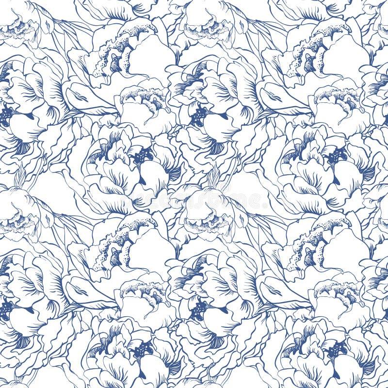 Fondo inconsútil de la flor elegante Sistema del azul Vector drenado mano libre illustration