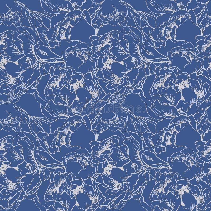 Fondo inconsútil de la flor elegante Sistema del azul y de la plata stock de ilustración