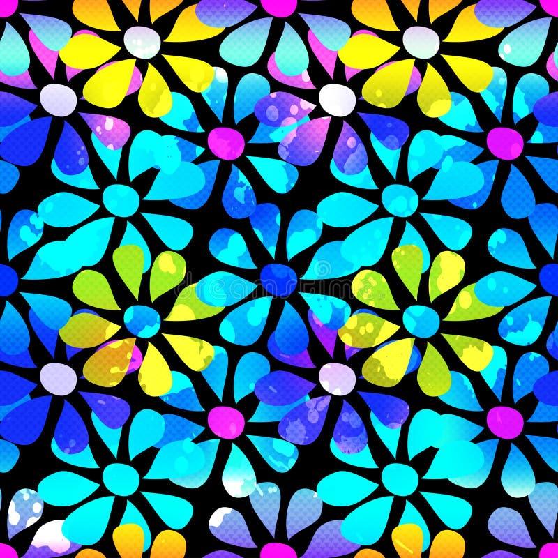 Fondo inconsútil de la flor hermosa psicodélica abstracta stock de ilustración