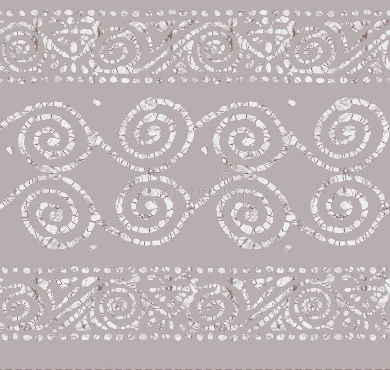 Fondo inconsútil de la frontera del diseño del batik ilustración del vector