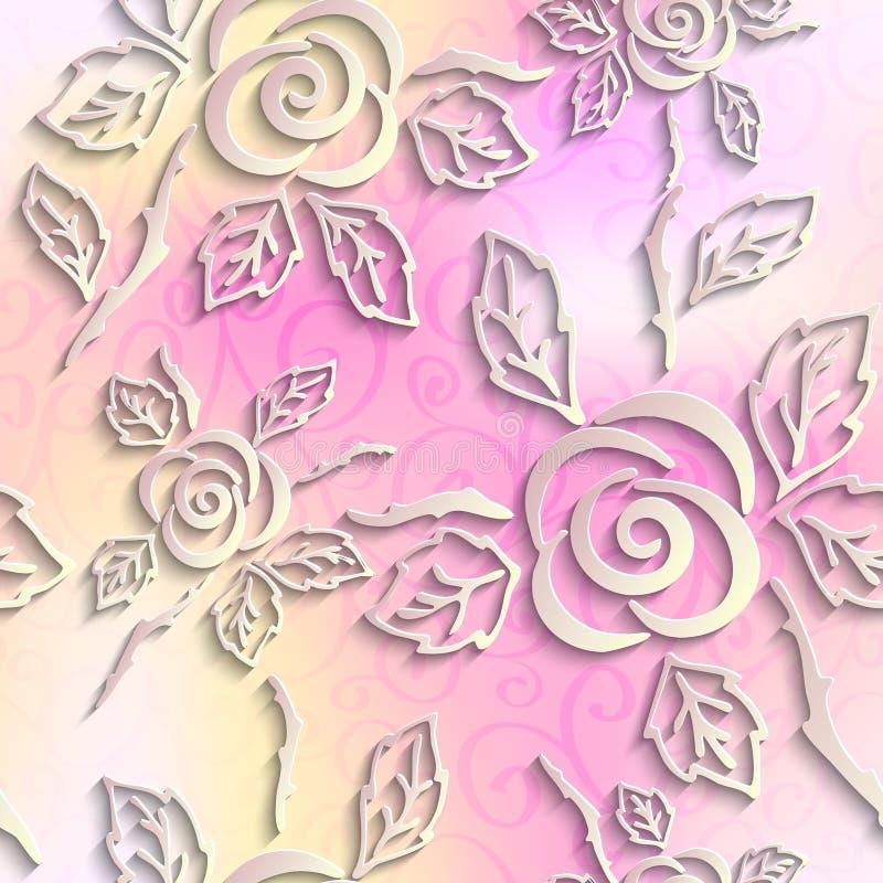 Fondo inconsútil de la luz del extracto 3D Rosas de papel ilustración del vector