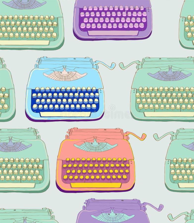 Fondo inconsútil de la máquina de escribir retra ilustración del vector