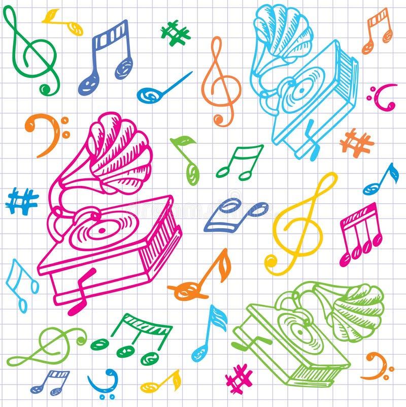 Fondo inconsútil de la música con el gramófono. libre illustration