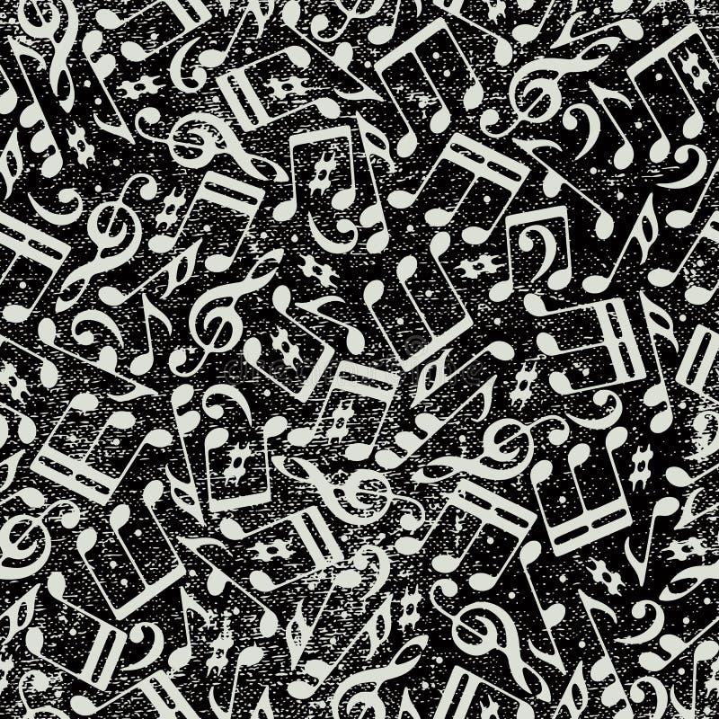 Fondo inconsútil de la música con las notas musicales y la textura del grunge ilustración del vector