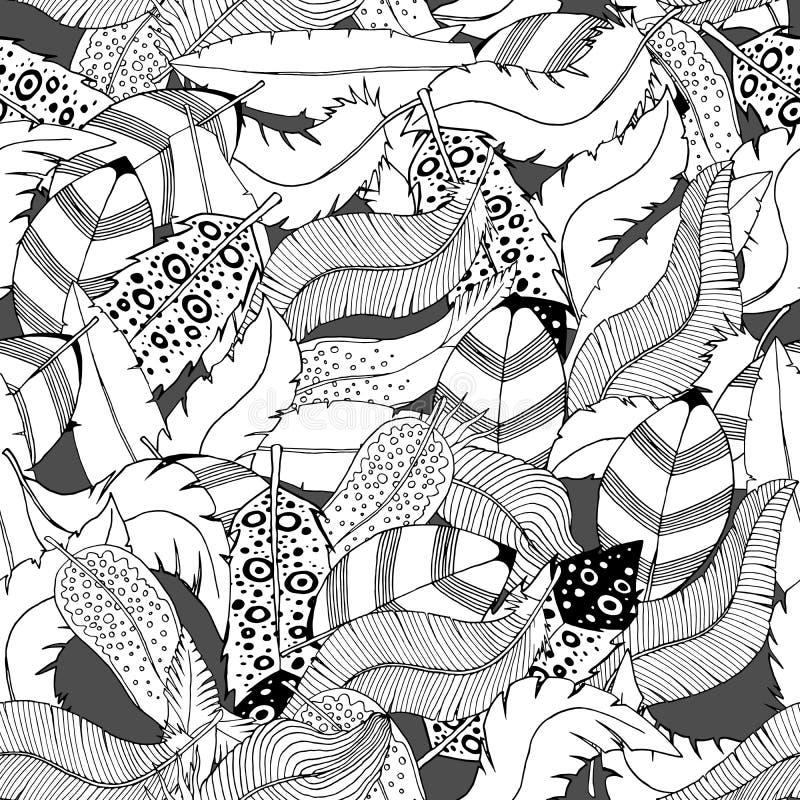 Fondo inconsútil de la moda de la materia textil del modelo de las plumas exhaustas de la mano de la tinta stock de ilustración