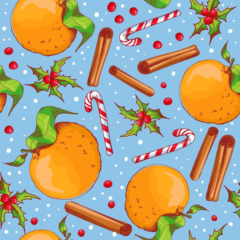 Fondo inconsútil de la Navidad con los caramelos y las naranjas ilustración del vector