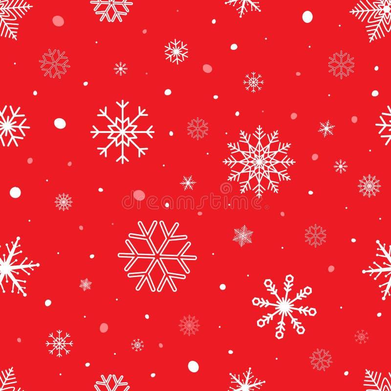 Fondo inconsútil de la Navidad con los copos de nieve Modelo del vector del copo de nieve en fondo rojo Diseño del invierno libre illustration