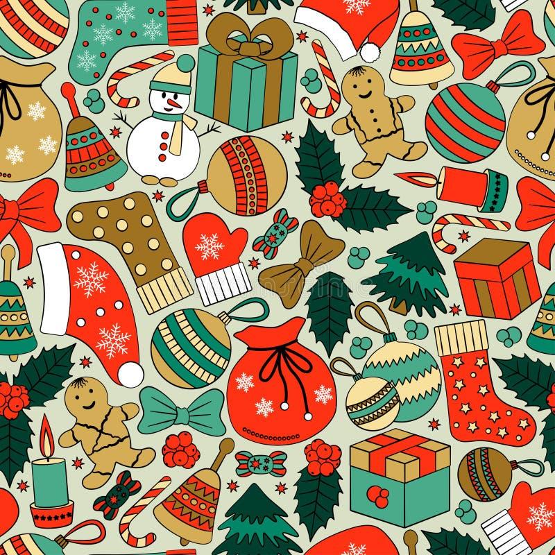 Fondo inconsútil de la Navidad con muchos garabatos del invierno stock de ilustración