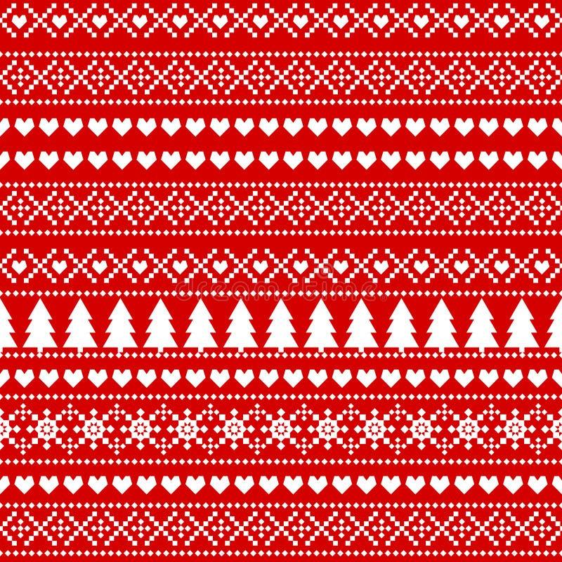 Fondo inconsútil de la Navidad, tarjeta - estilo escandinavo del suéter ilustración del vector