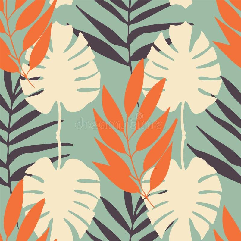Fondo inconsútil de la repetición del modelo de las hojas tropicales del vector stock de ilustración