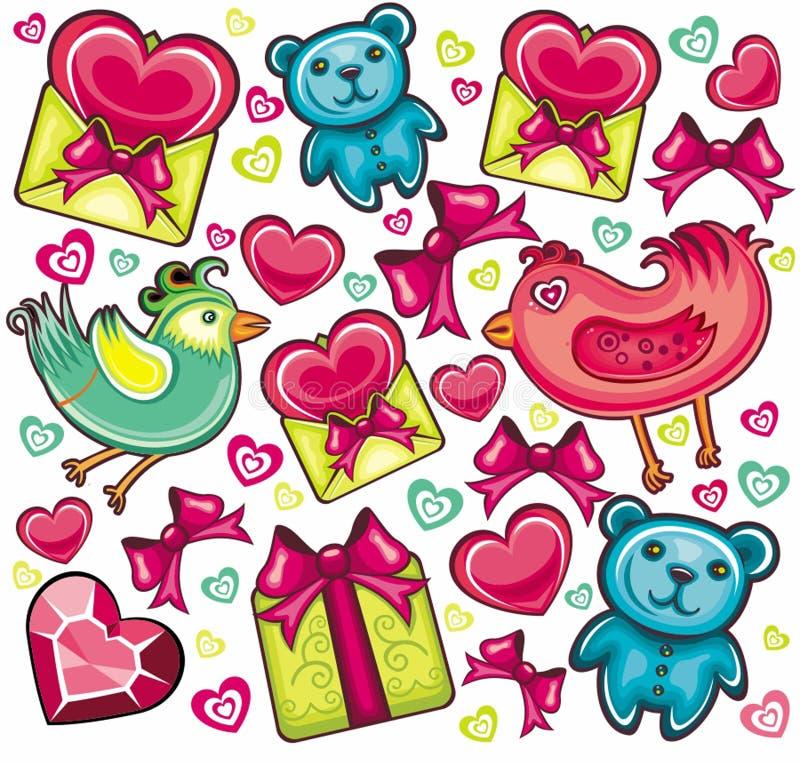 Fondo inconsútil de la tarjeta del día de San Valentín ilustración del vector