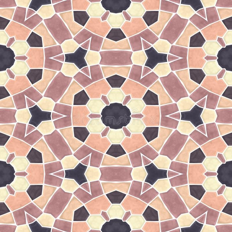 Fondo inconsútil de la textura del caleidoscopio del mosaico - anaranjado, beige amarillo, marrón, desnudo coloreado con la lecha stock de ilustración