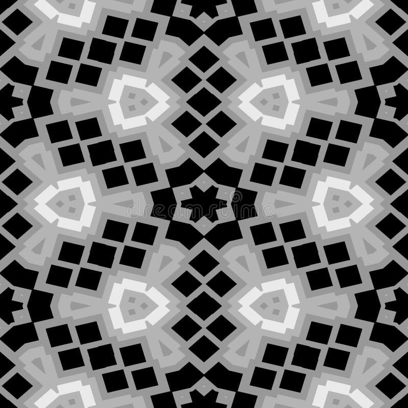 Fondo inconsútil de la textura del modelo del mosaico floral blanco y negro libre illustration