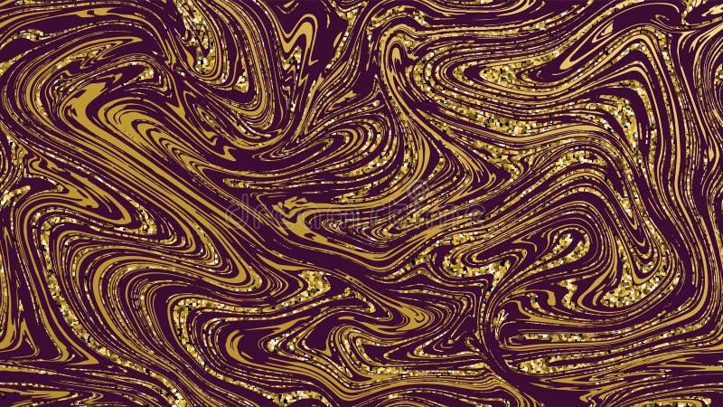 Fondo inconsútil de la textura de mármol del oro Modelo de lujo de oro púrpura Efecto que vetea flúido líquido para la cubierta,  fotos de archivo