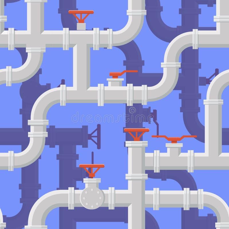Fondo inconsútil de la tubería del agua Vector del sistema aflautado stock de ilustración