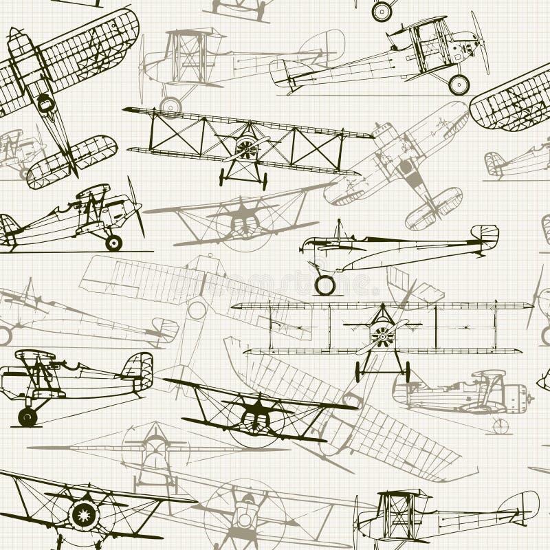 Fondo inconsútil de la vendimia Ejemplo estilizado del aeroplano stock de ilustración