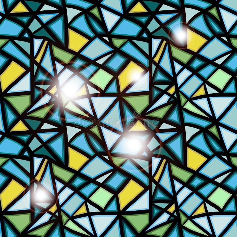 Fondo inconsútil de la ventana del mancha de óxido-vidrio ilustración del vector