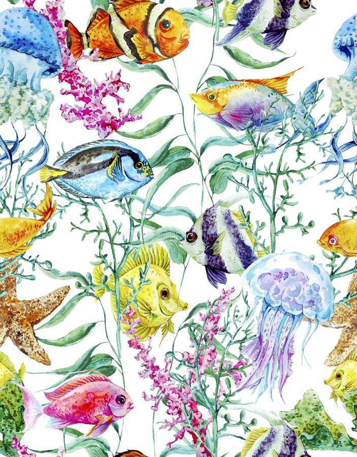 Fondo inconsútil de la vida marina de la acuarela ilustración del vector