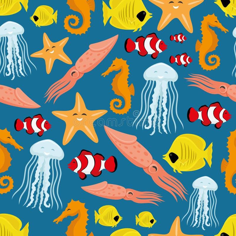 Fondo inconsútil de la vida subacuática stock de ilustración