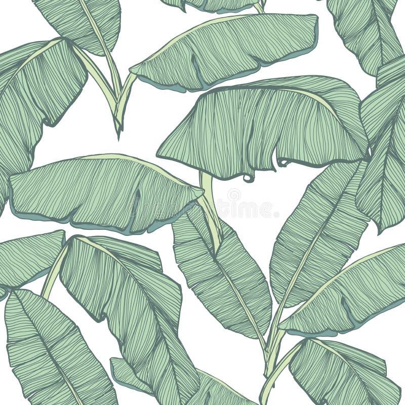 Fondo inconsútil de las hojas de palma tropicales stock de ilustración