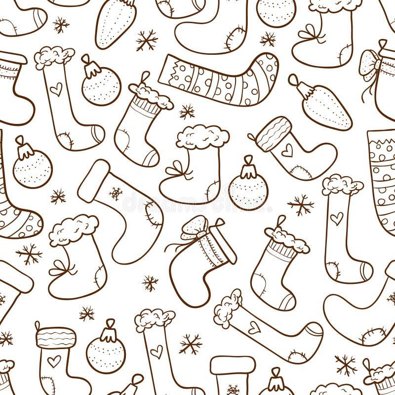 Fondo inconsútil de las medias de la Navidad ilustración del vector