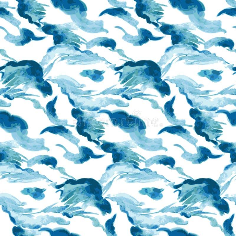 Fondo inconsútil de las ondas de la acuarela libre illustration
