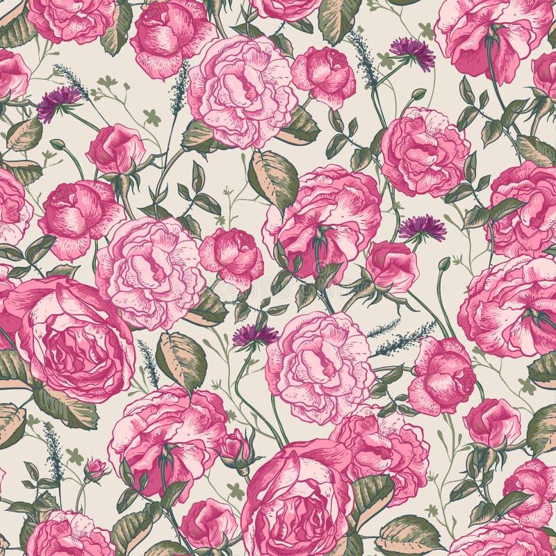 Fondo inconsútil de las rosas del vintage hermoso stock de ilustración