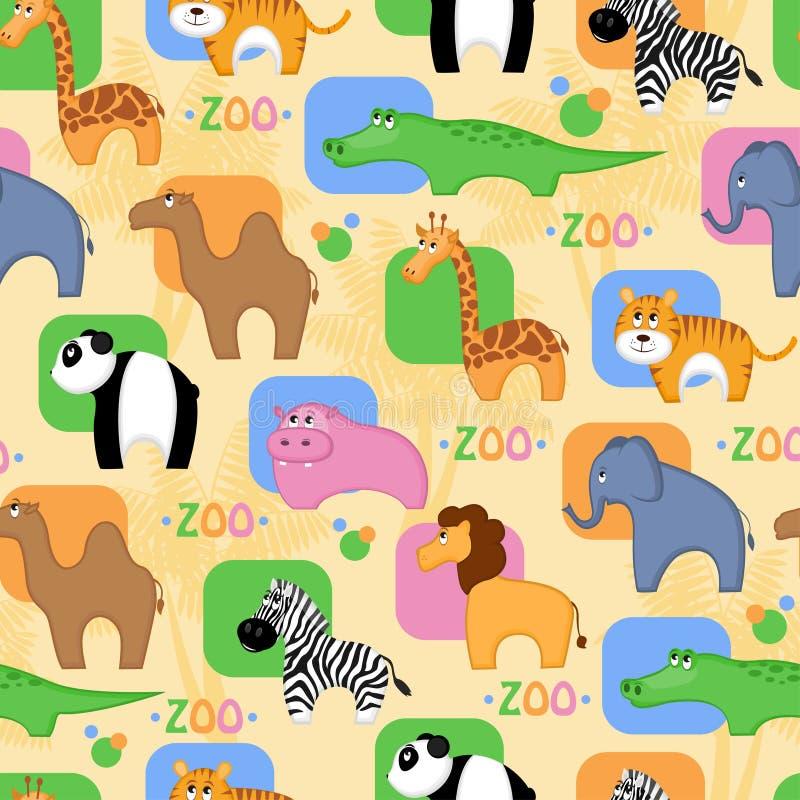 Fondo inconsútil de los animales africanos divertidos stock de ilustración