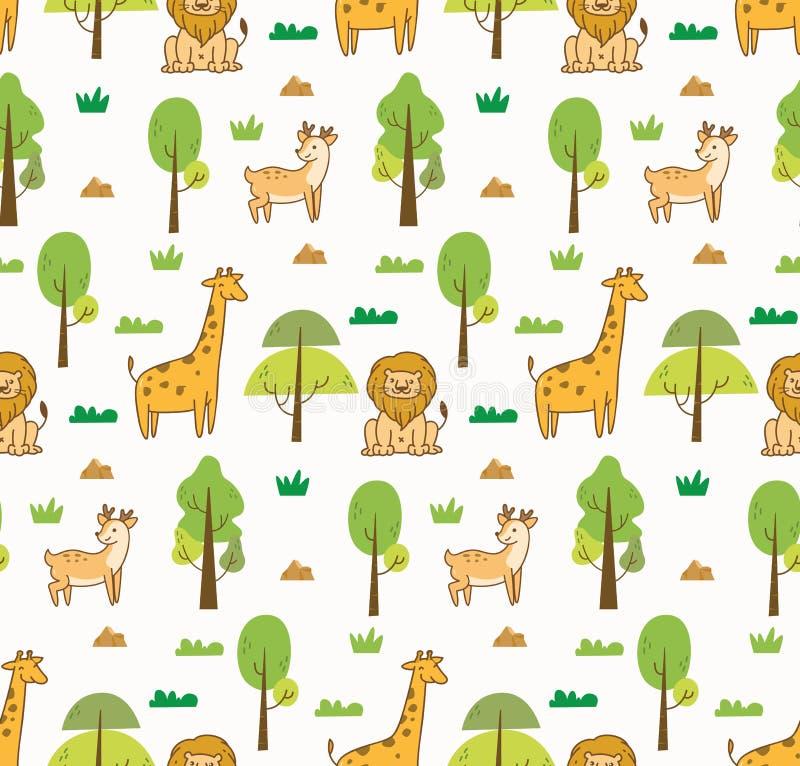 Fondo inconsútil de los animales lindos con el león, la jirafa y los ciervos ilustración del vector