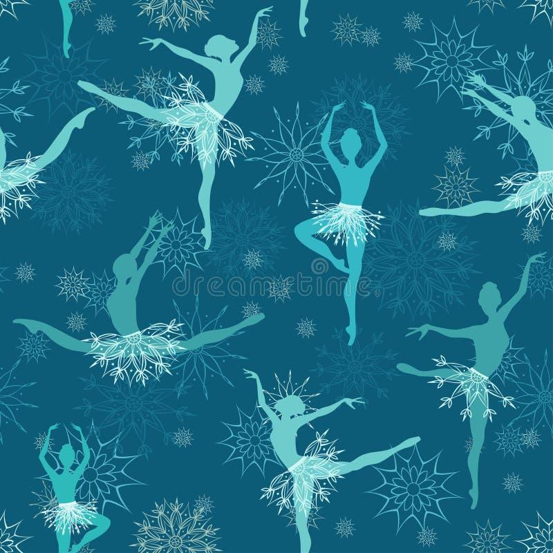 Fondo inconsútil de los bailarines de ballet del copo de nieve ilustración del vector